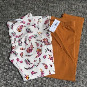 2 pair New! Old navy floral solid legging pants 5